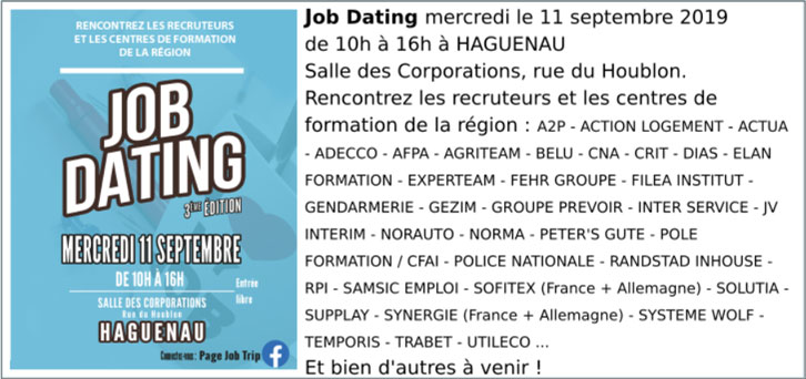 Job Dating à Sélestat 11 septembre 2019